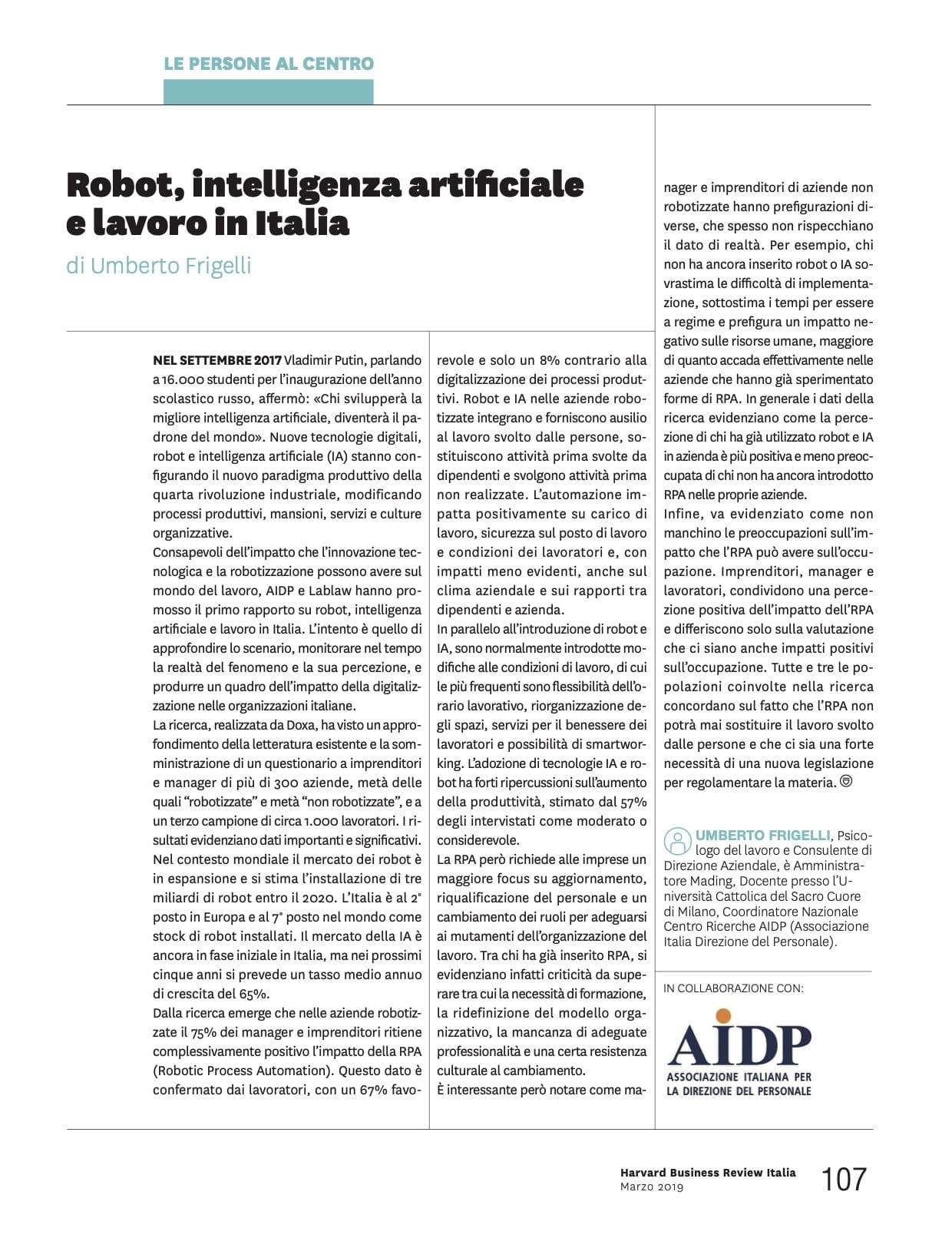 Robot, intelligenza artificiale e lavoro in Italia